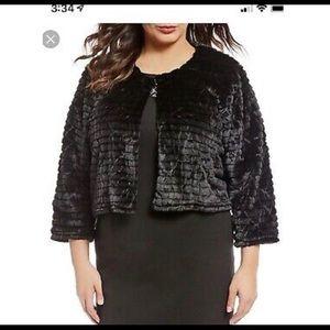 Calvin Klein Faux Fur cropped black jacket size M